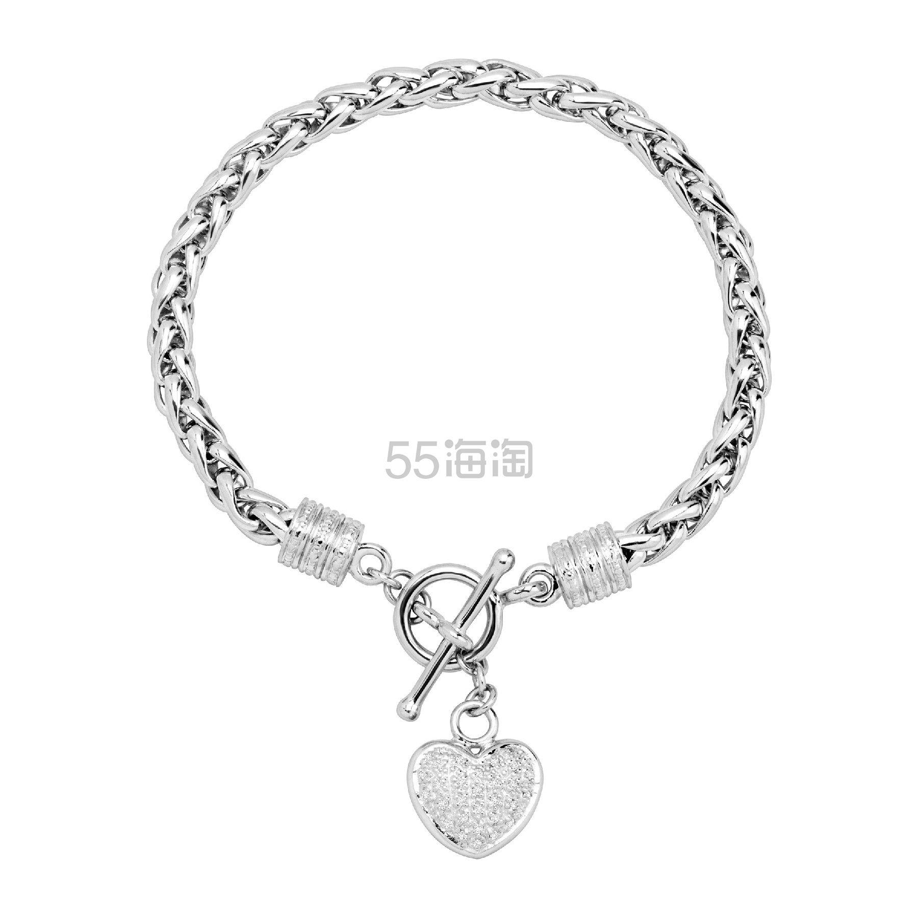 FINECRAFT 1/8 CT 钻石心形银手链 9(约828元) - 海淘优惠海淘折扣|55海淘网