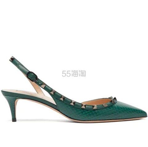 37码有货~VALENTINO Rockstud 绿色铆钉装饰高跟鞋 €521(约4,055元) - 海淘优惠海淘折扣 55海淘网