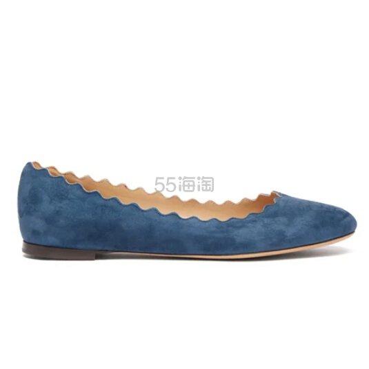 小码有货~CHLOÉ Lauren 蓝色麂皮花瓣鞋 €202(约1,572元) - 海淘优惠海淘折扣|55海淘网