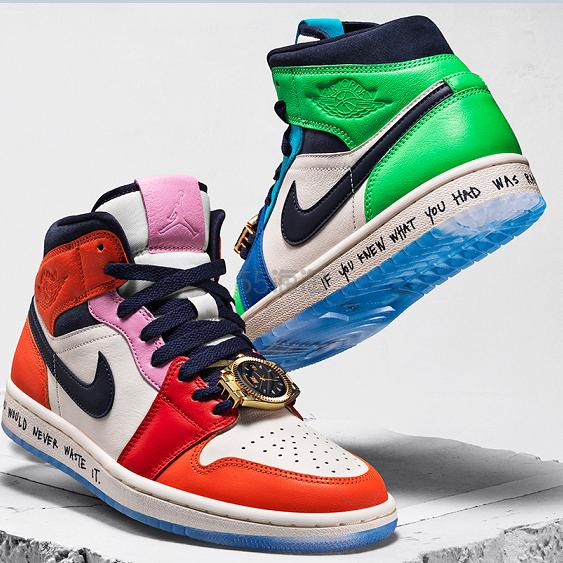 Jordan 1 X Melody Ehsani 橙绿鸳鸯中帮篮球鞋