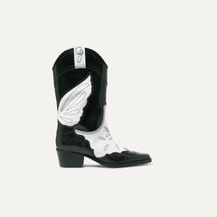 GANNI High Texas 双色刺绣皮革靴子