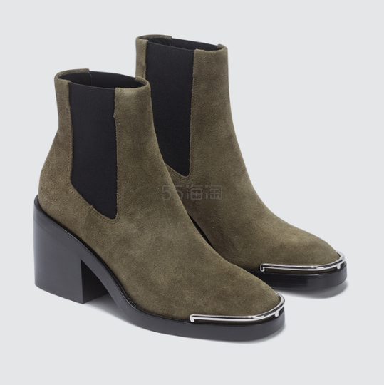 ALEXANDER WANG Hailey 墨绿色麂皮短靴 7.25(约2,769元) - 海淘优惠海淘折扣 55海淘网