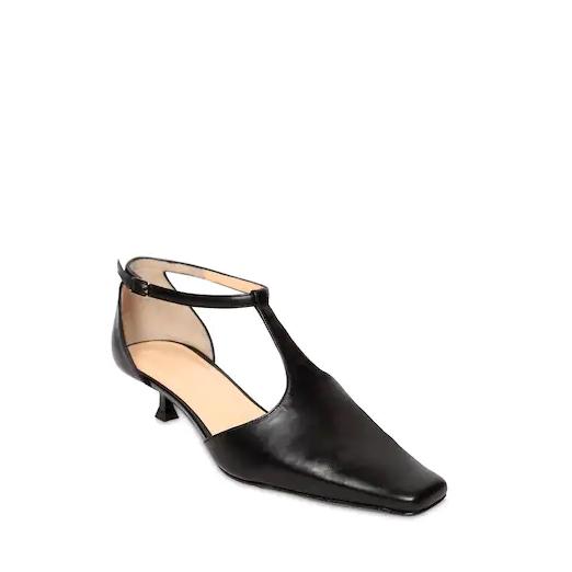 "BY FAR 35毫米""BELLA""T字带皮革高跟鞋"