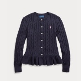 Ralph Lauren 拉夫劳伦 Cable Cotton Peplum 7-16岁针织开衫