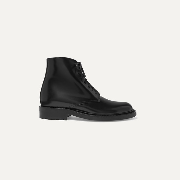 SAINT LAURENT Army 抛光皮革踝靴