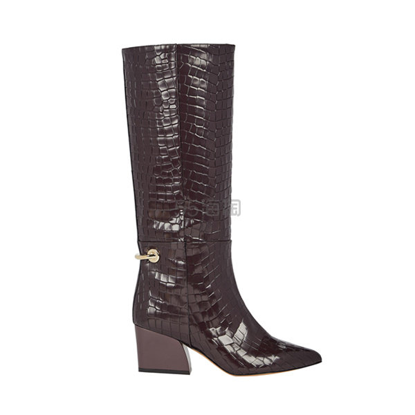 TIBI Rowan 鳄鱼纹理金属环装饰长靴