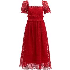 SELF-PORTRAIT Hibiscus 红色连衣裙