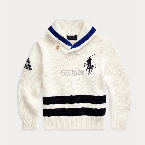 Ralph Lauren 拉夫劳伦 Big Pony Cotton Shawl Sweater 2-7岁针织衫 .19(约281元) - 海淘优惠海淘折扣|55海淘网