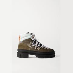 GANNI Sporty Hiking 皮革绒面革踝靴