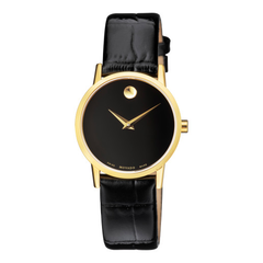 Movado 摩凡陀 Museum 博物馆系列 黑金色女士时装腕表 0607222