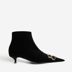 【双12】Balenciaga 巴黎世家 BB 装饰天鹅绒踝靴