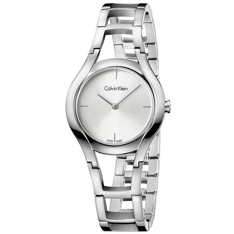近期好价!Calvin Klein 卡尔文·克雷恩 珍享系列 镂空银色钢表带石英手表 K6R23126
