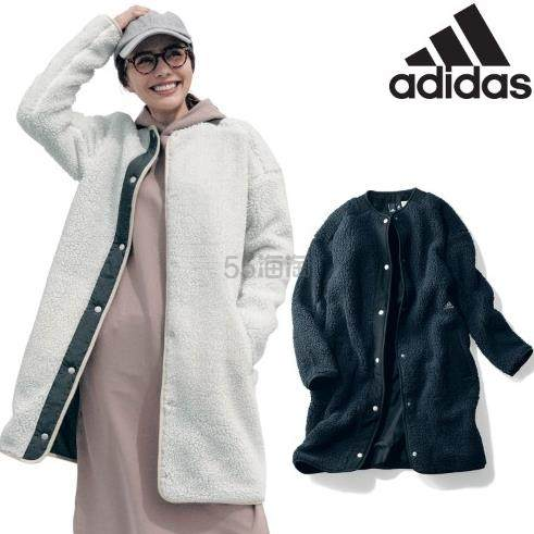 adidas 阿迪达斯 字母刺绣仿羊羔毛无领女士中长款外套 3色 8,791日元(约563元) - 海淘优惠海淘折扣|55海淘网