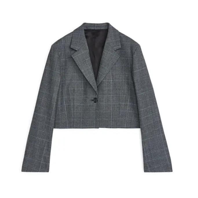 ARKET 格纹短款西装夹克 £81(约736元) - 海淘优惠海淘折扣|55海淘网