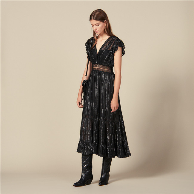 Sandro LONG LUREX SILK DRESS