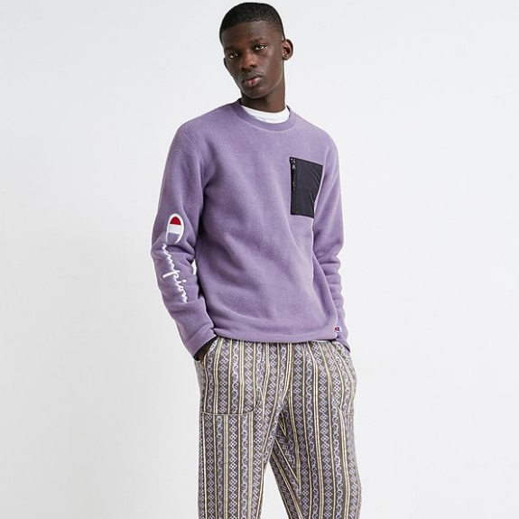 Champion 冠军 Script Purple Fleece 珊瑚绒上衣