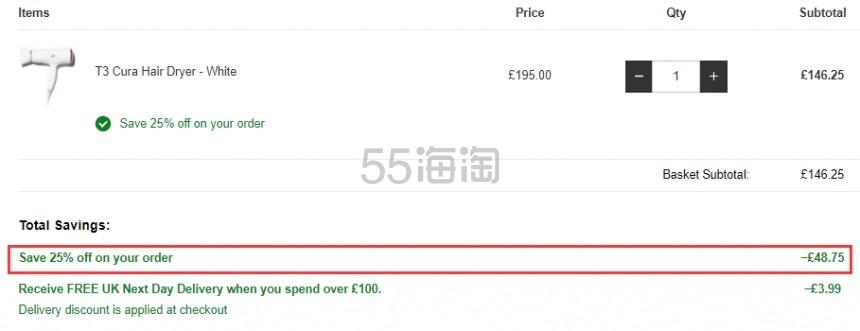 【1件免费直邮】7.5折!T3 CURA 系列负离子吹风机 白色玫瑰金 £146.25(约1,280元) - 海淘优惠海淘折扣|55海淘网