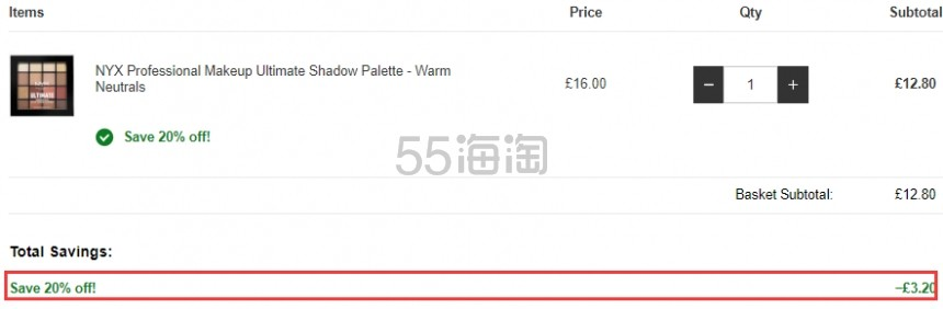 【限时高返】8折!NYX 终极焕彩16色眼影盘 Warm Neutrals £12.8(约112元) - 海淘优惠海淘折扣 55海淘网