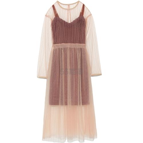 6折!Lily Brown 复古薄纱波点连衣裙 2件套 3色可选 10,044日元(约632元) - 海淘优惠海淘折扣 55海淘网