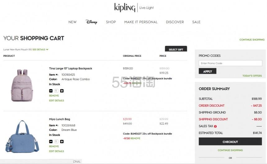 Kipling Tina 大号 15 笔记本电脑双肩包 9.25(约809元) - 海淘优惠海淘折扣|55海淘网