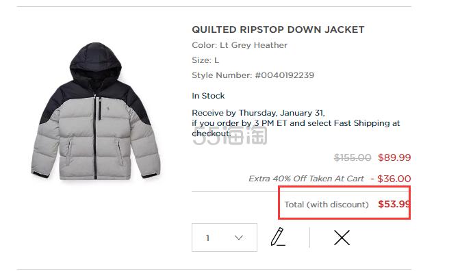 Ralph Lauren 大童款羽绒夹克 .99(约364元) - 海淘优惠海淘折扣|55海淘网