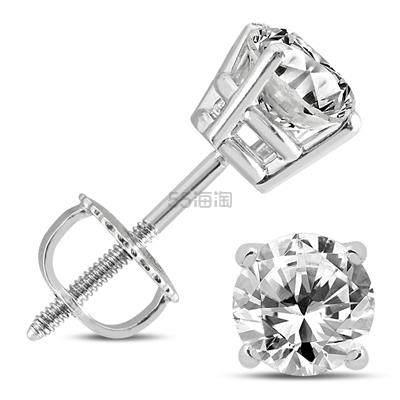 【55专享】SZUL SI1-SI2 纯度1克拉钻石14k白金耳钉 8(约3,993元) - 海淘优惠海淘折扣 55海淘网