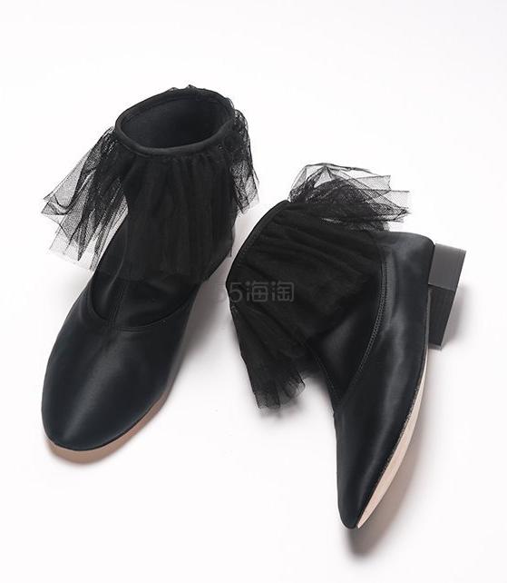 【3折】Repetto 花边薄纱真丝黑色短靴 7(约858元) - 海淘优惠海淘折扣|55海淘网