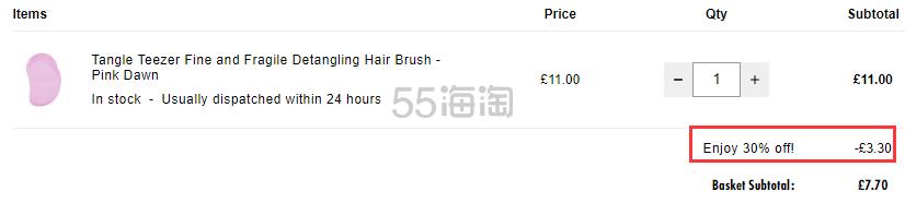 7折!Tangle Teezer TT梳子 细软易断发质适用 粉色 £7.7(约68元) - 海淘优惠海淘折扣|55海淘网