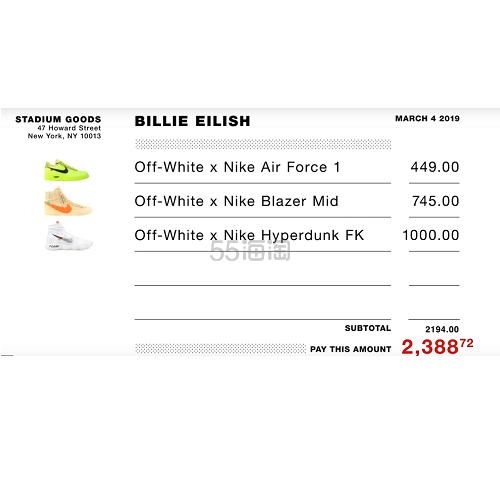 【5姐资讯】人气另类女歌手 Billie Eilish Sneaker Shopping, 最中意 Nike X off-white 合作系列! - 海淘优惠海淘折扣 55海淘网