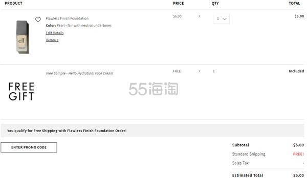 一件免邮!ELF 完美持妆粉底液 (约40元) - 海淘优惠海淘折扣|55海淘网