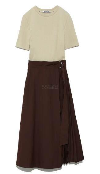 SNIDEL 新款假两件拼接连衣裙 气质显瘦 3色 18,360日元(约1,109元) - 海淘优惠海淘折扣|55海淘网
