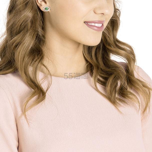 Swarovski Luckily 绿色水晶恶魔之眼珍珠耳钉 (约369元) - 海淘优惠海淘折扣|55海淘网