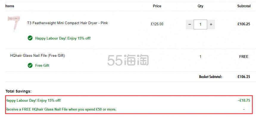 【解禁可直邮】英版无需变压器 8.5折!T3 粉色羽量轻型吹风机 £106.25(约943元) - 海淘优惠海淘折扣|55海淘网