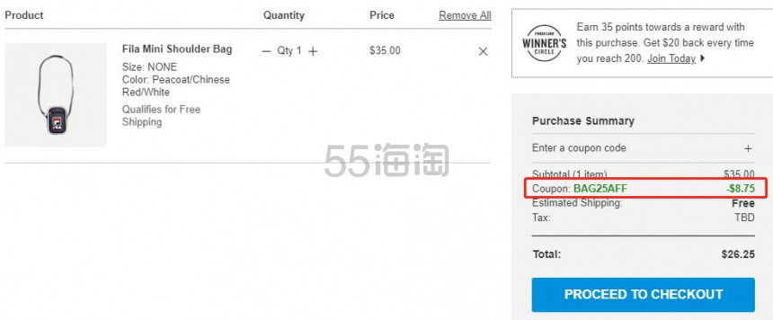 【额外7.5折】Fila 斐乐 迷你斜挎包 .25(约182元) - 海淘优惠海淘折扣 55海淘网