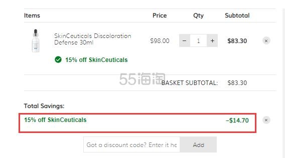 SkinCeuticals 杜克 美白淡斑提亮精华 30ml .3(约575元) - 海淘优惠海淘折扣|55海淘网