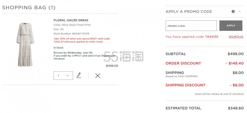 Ralph Lauren Floral Gauze Dress 拉夫劳伦印花薄纱连衣裙 8.6(约2,407元) - 海淘优惠海淘折扣 55海淘网