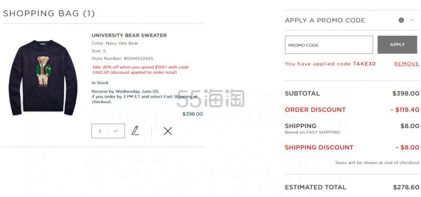 Ralph Lauren University Bear 小熊针织衫 8.6(约1,923元) - 海淘优惠海淘折扣 55海淘网