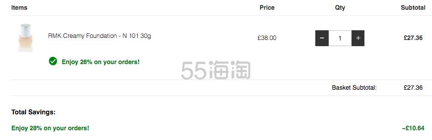 【可直邮】7.2折!RMK 水凝柔光粉底霜 小方瓶 N101 £27.36(约240元) - 海淘优惠海淘折扣|55海淘网
