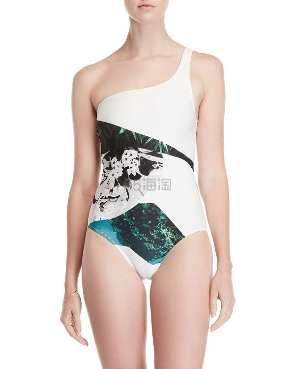 Proenza Schouler 印花单肩白色泳衣 9.99(约900元) - 海淘优惠海淘折扣 55海淘网