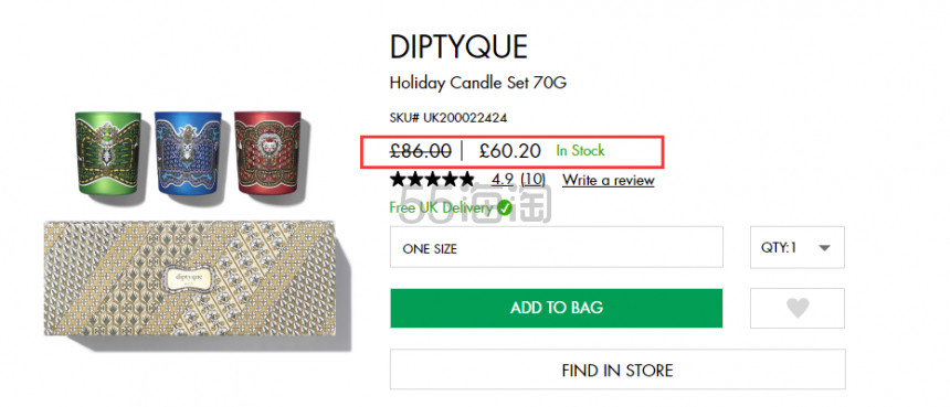 数量有限!DIPTYQUE 18年圣诞限量迷你蜡烛套组 3*70g £60.2(约524元) - 海淘优惠海淘折扣|55海淘网