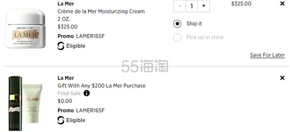 Saks Fifth Avenue:La Mer 海蓝之谜全线美妆护肤 满0送2件套 - 海淘优惠海淘折扣|55海淘网