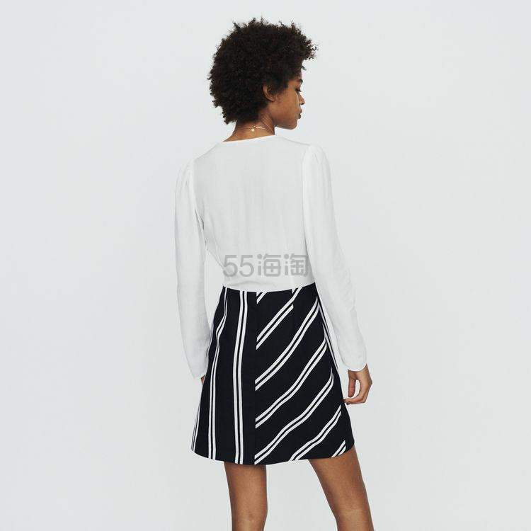 Maje V领黑白拼接连衣裙 4(约1,409元) - 海淘优惠海淘折扣 55海淘网