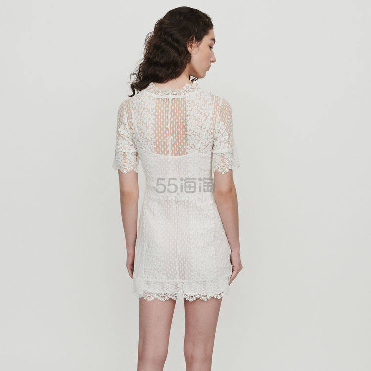 Maje 蕾丝拼接短袖连衣裙