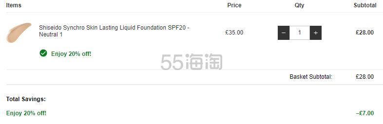 【N1有货】Shiseido 资生堂 智能感应持久哑光粉底液 £28(约241元) - 海淘优惠海淘折扣|55海淘网
