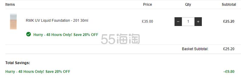 7.2折!RMK 防晒粉底液 SPF50 色号201 £25.2(约217元) - 海淘优惠海淘折扣|55海淘网