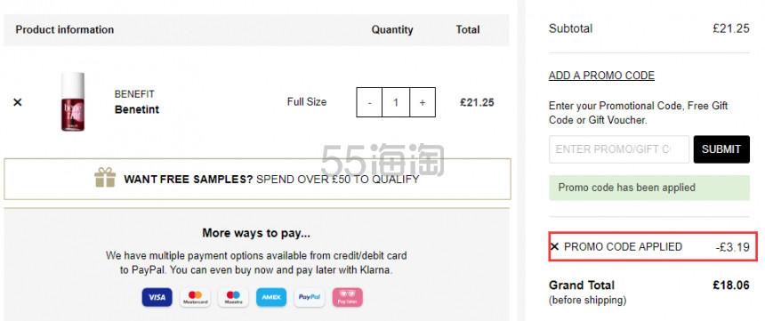 1件免费直邮!Benefit 贝玲妃 唇颊彩玫瑰胭脂水 10ml £18.06(约155元) - 海淘优惠海淘折扣|55海淘网