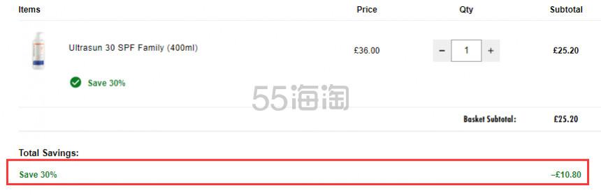 【补货】5.5折!Ultrasun 防晒乳 家庭装 Spf30 400ml £25.2(约216元) - 海淘优惠海淘折扣|55海淘网