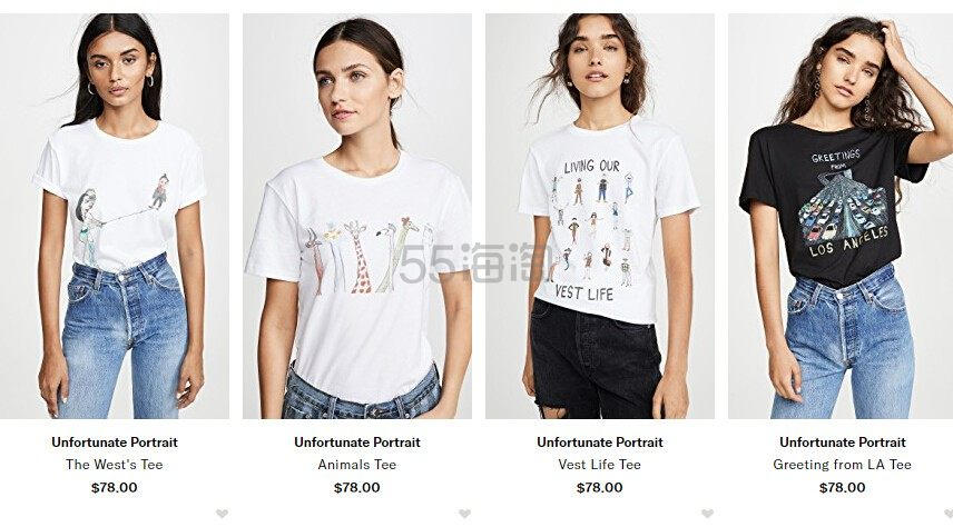 Shopbop:精选新晋潮牌 Unfortunate Portrait T恤衫 小众潮流之选 - 海淘优惠海淘折扣|55海淘网