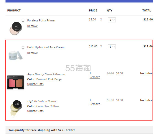 ELF Cosmetics:全场美妆护肤 满自选两件正装好礼 - 海淘优惠海淘折扣|55海淘网
