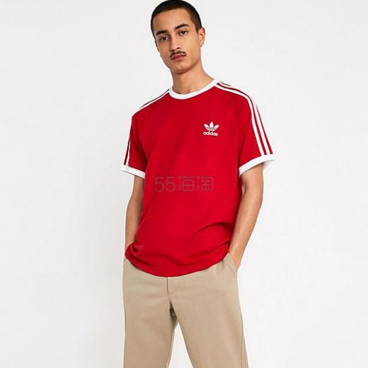 adidas 3-Stripe Red T-Shirt 阿迪达斯三叶草复古T恤 £18(约151元) - 海淘优惠海淘折扣 55海淘网